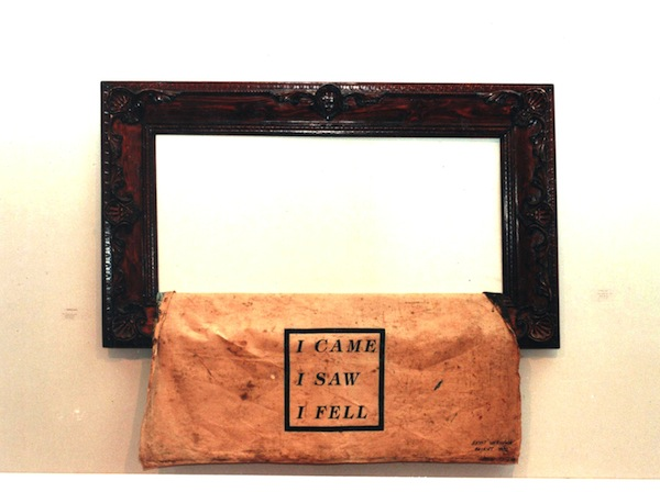 Anita Toutikian, I Came I Saw I Fell, 1996 Contraceptual Art with oil painting, Frame, stencil print on back of canvas, 120 x 150 cm. Photo taken at the Sursock Museum, Beirut 1996