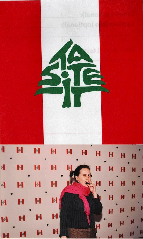 Anita Toutikian, The Field of Hearts, 2006, Interactive Installation with firecracker stuffed chocolates on the walls and floors, Inverterted Lebanese flag with Calligriphized English,Photo taken at Espace SD, Beirut 2006
