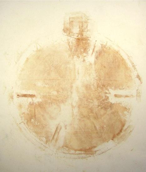 Hrayr Eulmessekian, Face Lift, 2001. rust on canvas, 6x7 ft