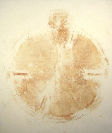 Hrayr Eulmessekian, Face Lift, 2001. rust on canvas, 6x7 ft