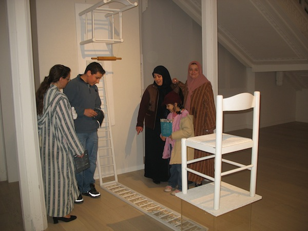 Anita Toutikian, Balance of Powers, 2004. Installation with wood, plexiglas, dough pin and dough men, iron scales. Variable dimensions. Photo taken at the Museum of Modern Art Algiers 2007