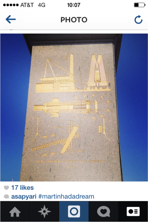 Instagram still of the base of Egyptian obelisk occupying Place de la Concorde in Paris, courtesy Nadia Ayari