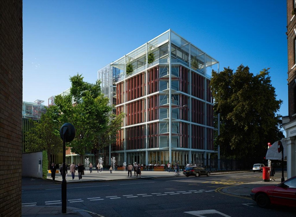 Renderings from the Richard Rogers' proposed. Withdrawn after a special request by Prince Charles to the Qatari Diar. Credit: Chelsea Barracks, Rogers Stirk Harbour + Partners
