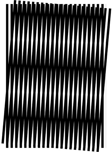 A moire pattern, formed by two sets of parallel lines, one set inclined at an angle of 5° to the other. Image by Georgie