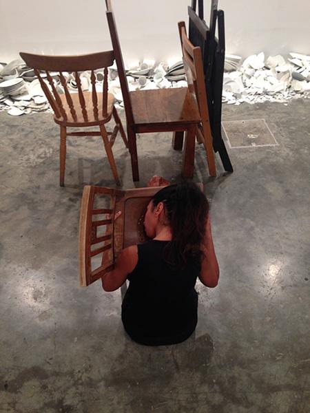 Maria Jose Arjona, 4 legged animal: re-enactment, 2015 (original work by Maria Jose Arjona, 2008). Re-Performer: Vitalina Sousa.