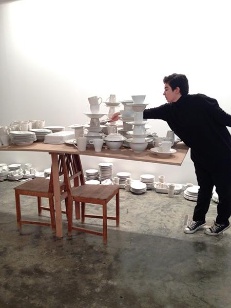 Maria Jose Arjona, Balancing Stacks: re-enactment, 2015 (original work by Cheryl Pope, 2010). Re-performer: Yalda Bidshahri.