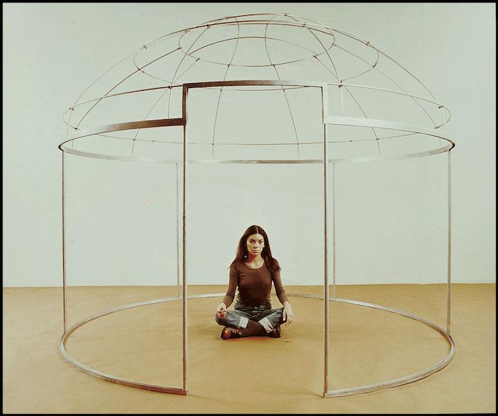 Installation view of Topak Ev (Nomad's Tent/La Yourte): A Study of Private, Public, and Feminine Spaces (1973), installation with leather, felt, paint and metal. 'Topak Ev' exhibition, Musée d'Art Moderne de la Ville de Paris, 1973.