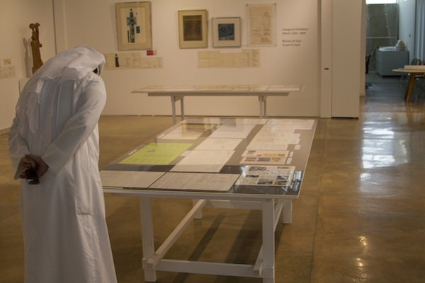 Image of installation of exhibition, The Founding Years (1969-1973), A Selection of Works from the Sultan Gallery Archives, Sultan Gallery, Kuwait, 2012.More documentation of the exhibition is available on the Sultan Gallery's website.