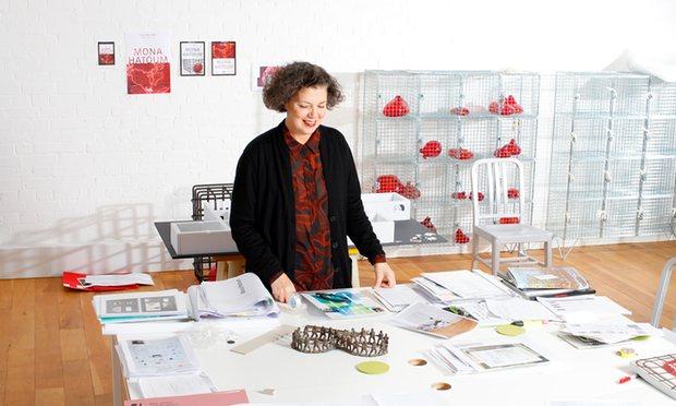 Mona Hatoum in her London studio. Photograph: Katherine Anne Rose for the Observer