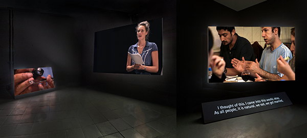 Ergin Çavuşoğlu, Crystal & Flame, (2010). Three-channel color video installation, with sound. Solomon R. Guggenheim Museum, New York, Guggenheim UBS MAP Purchase Fund 2015. © Ergin Çavuşoğlu. Installation view: PEER, London, 2010 © Chris Dorley-Brown. Courtesy the artist, Rampa, Istanbul and Film and Video Umbrella, London