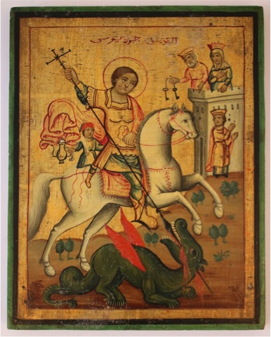 Jerusalem School painter, Icon of St George, est.late 1800s, egg tempera on wood Courtesy of Collection George Al Ama.