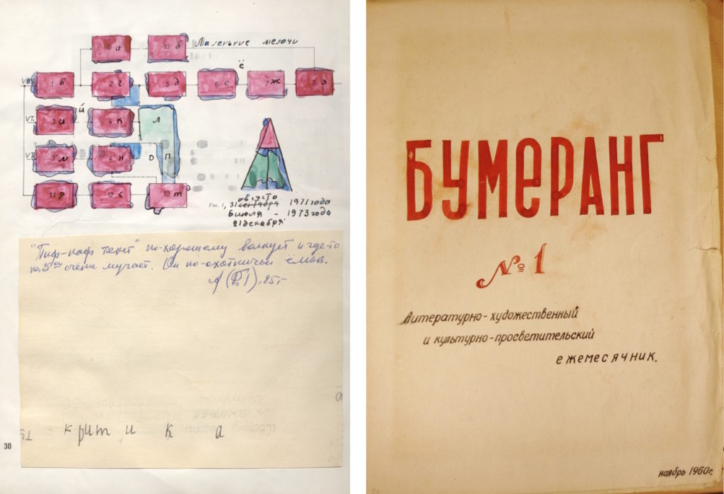 """Left image: From issue no. 30, 1971 of the journal """"Nomer"""" by the neo-futurist group led by poets Ry Nikonova and Serge Segay; Right image: The first issue of """"Boomerang,"""" a literary-artistic and cultural monthly published in Moscow in 1960"""