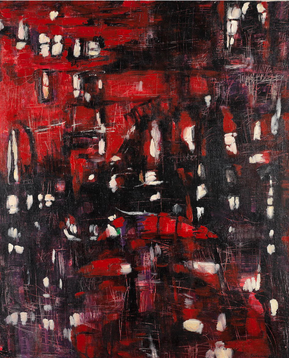 Fahrelnissa Zeid, The Red City, 1957, Oil on canvas, 162 × 132 cm. Image courtesy of Barjeel Art Foundation, Sharjah.