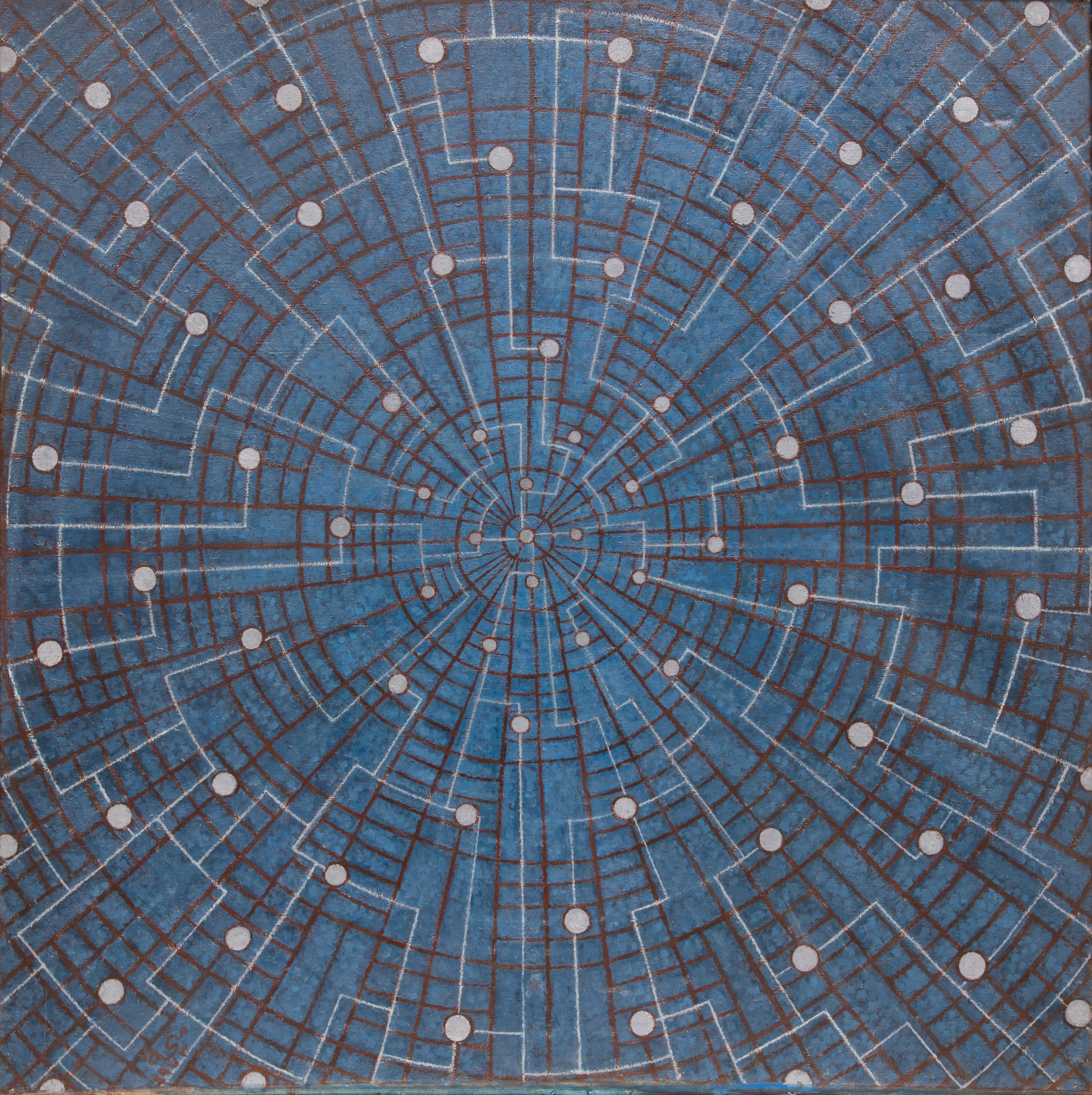 Menhat Helmy, Space Exploration/Universe, 1973, Oil on canvas, 123 × 123 cm. Image courtesy of Barjeel Art Foundation, Sharjah.