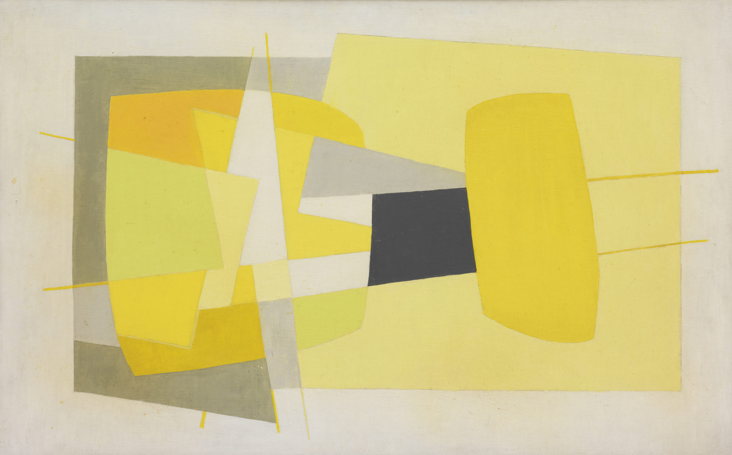 Saloua Raouda Choucair, Composition in Yellow, 1962–65, Oil on fiberboard, 51.4 × 81.3 cm. Image courtesy of Barjeel Art Foundation, Sharjah.