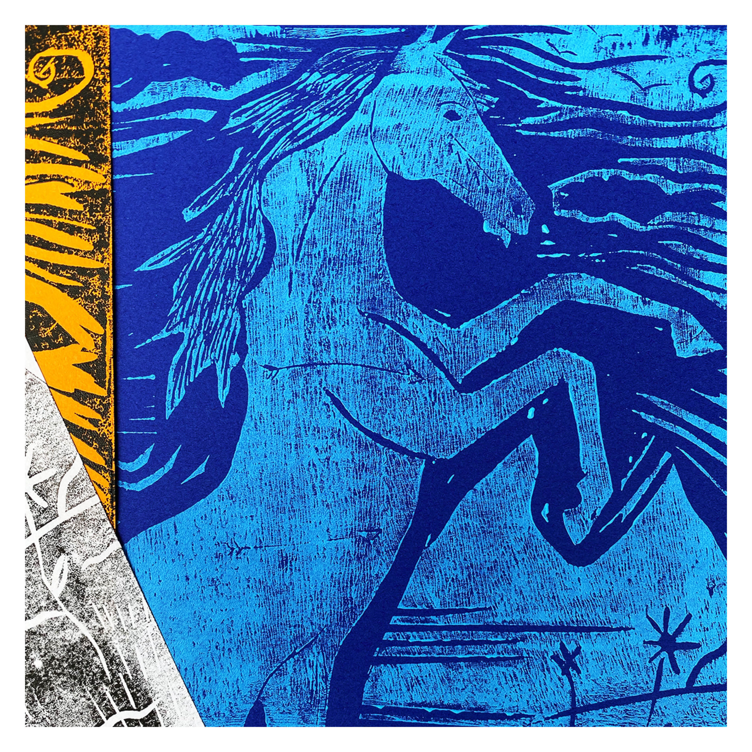 Sofia Zubi, Horse, 9x12in., Linocut Prints, 6/6 per color