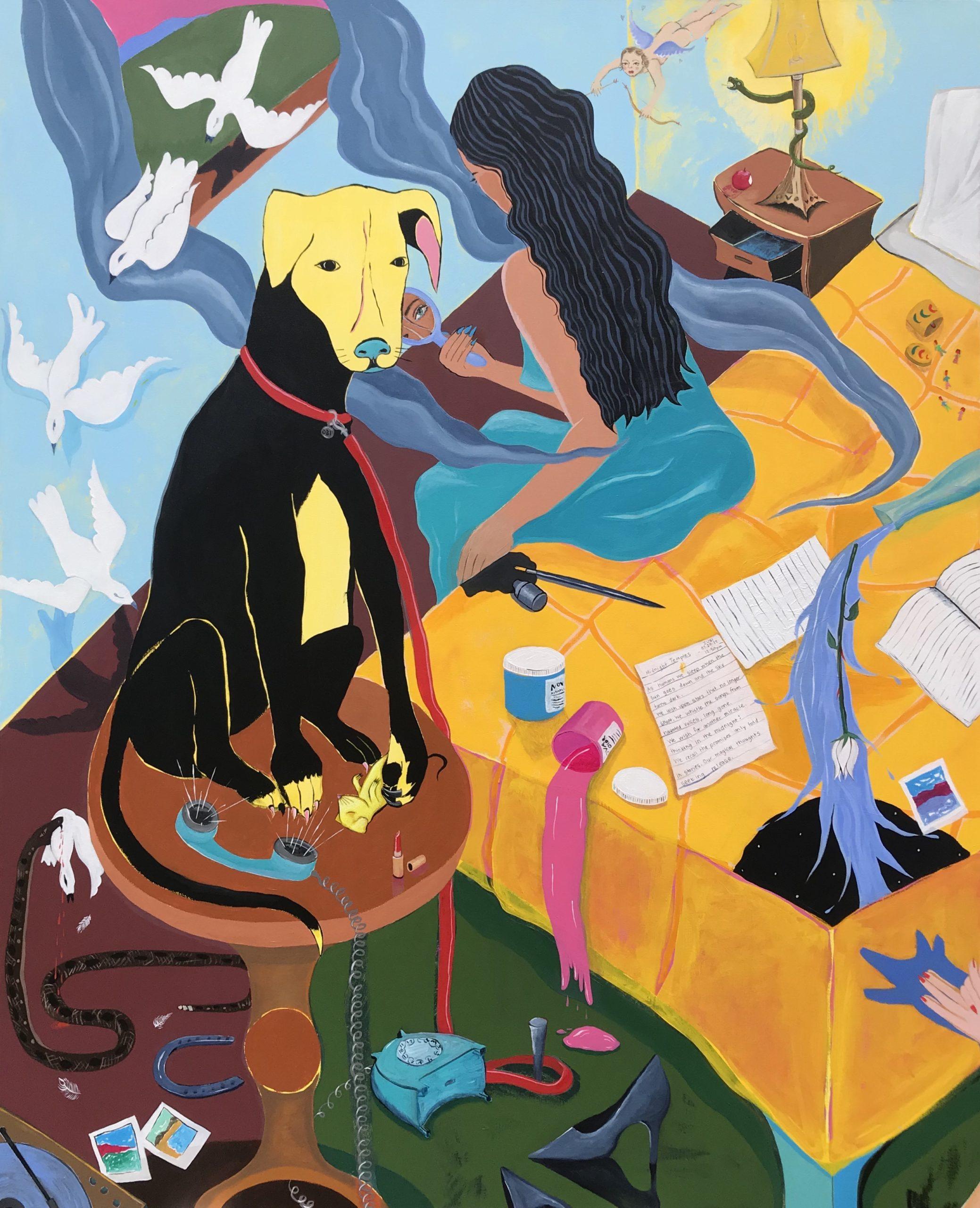 Sofia Zubi, Reflections, 2020, 51.5x64in., Acrylic