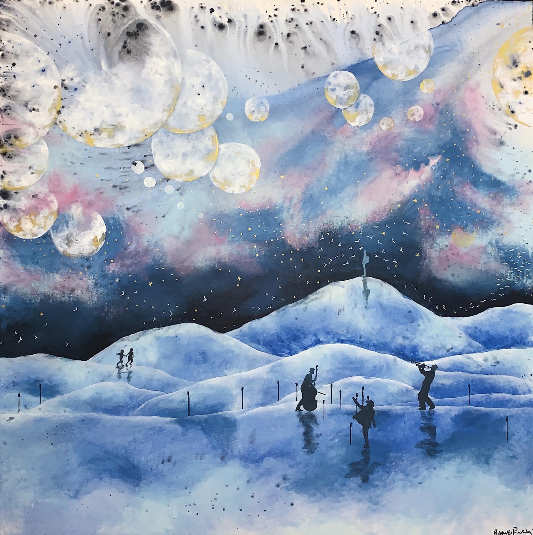 Nadeen El Rashidy, Just Listen, 2019, Oil on canvas, 150 x 150 cm.