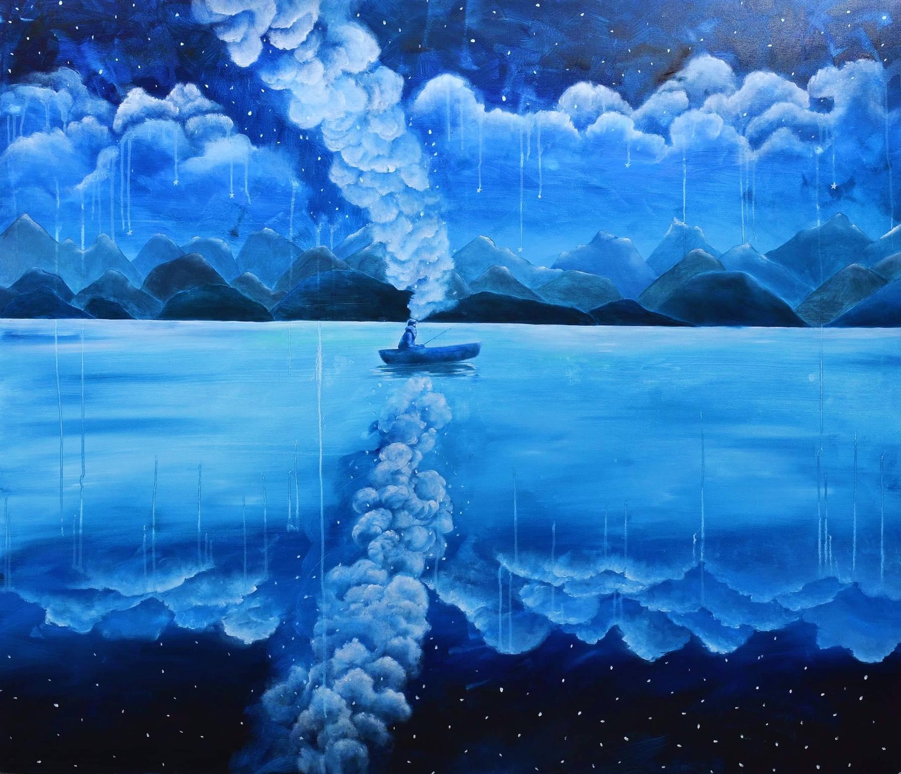 Nadeen El Rashidy, I'm On My Way, 2019, Oil on canvas, 150 x 150 cm.
