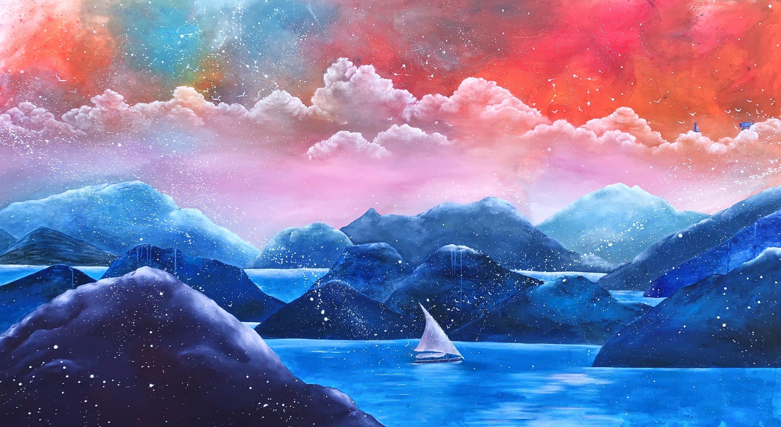 Nadeen El Rashidy, Lucy in the Sky with Diamonds, 2020, oil on canvas, 160 X 290 cm.