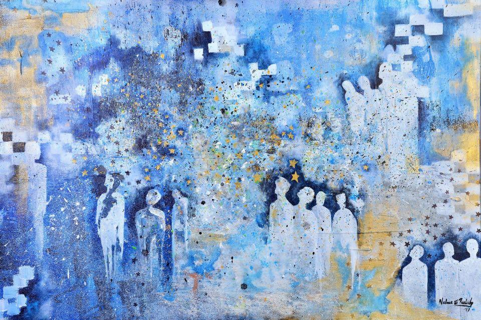 Nadeen El Rashidy, Stargazing, 2017, acrylic on canvas, 120 x 80 cm.