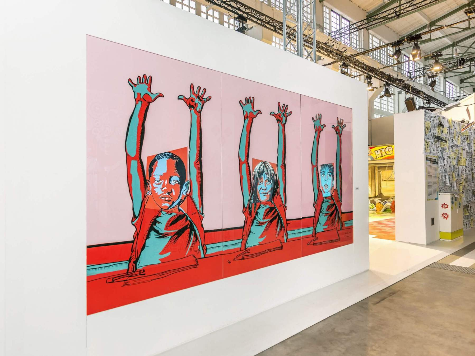 Ganzeer, Hands Up - Vol. 2, 2016. Acrylic on wood with animation on screen (photo by Rainer Christian Kurzeder).