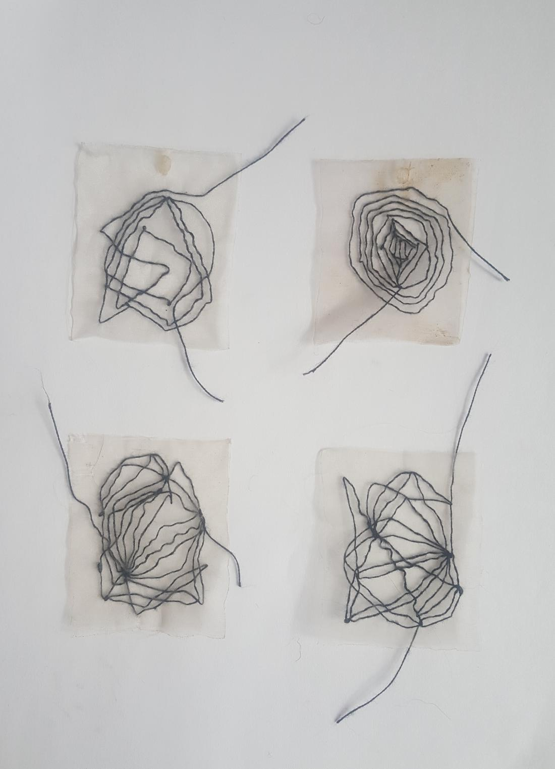 Huda Lutfi, Meandering of a Black Thread, 2020, 11 x 13 cm each