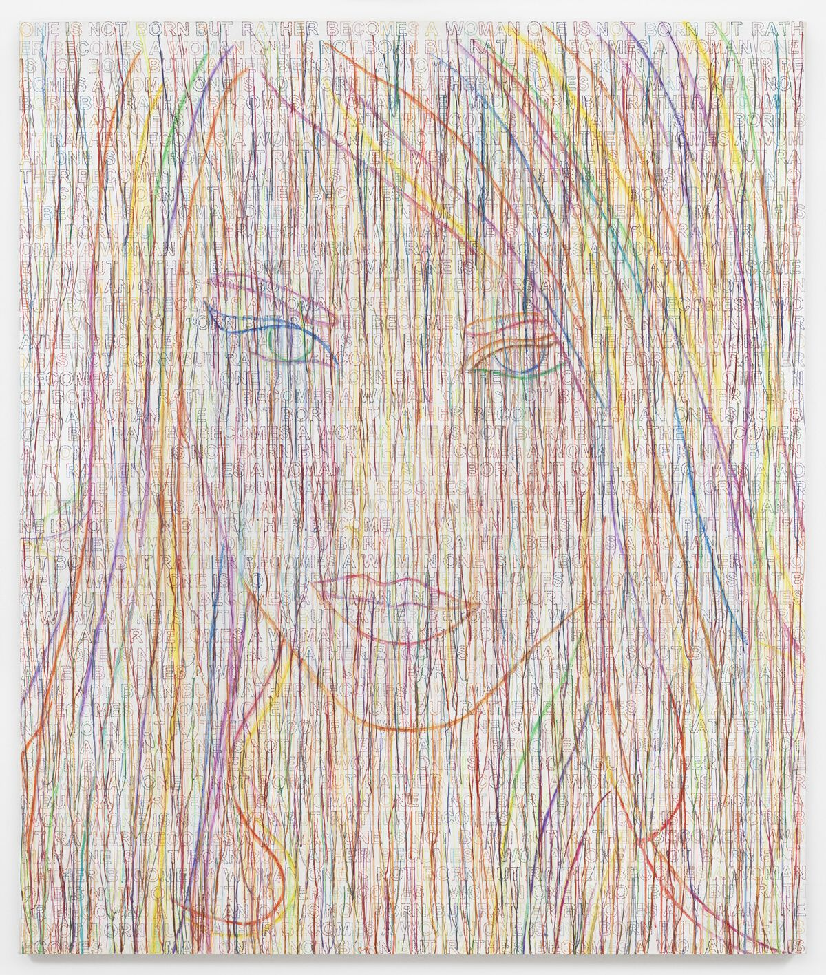 Ghada Amer, The Rainbow Girl, 2014, Acrylic, embroidery and gel medium on canvas, 70 x 59 in.