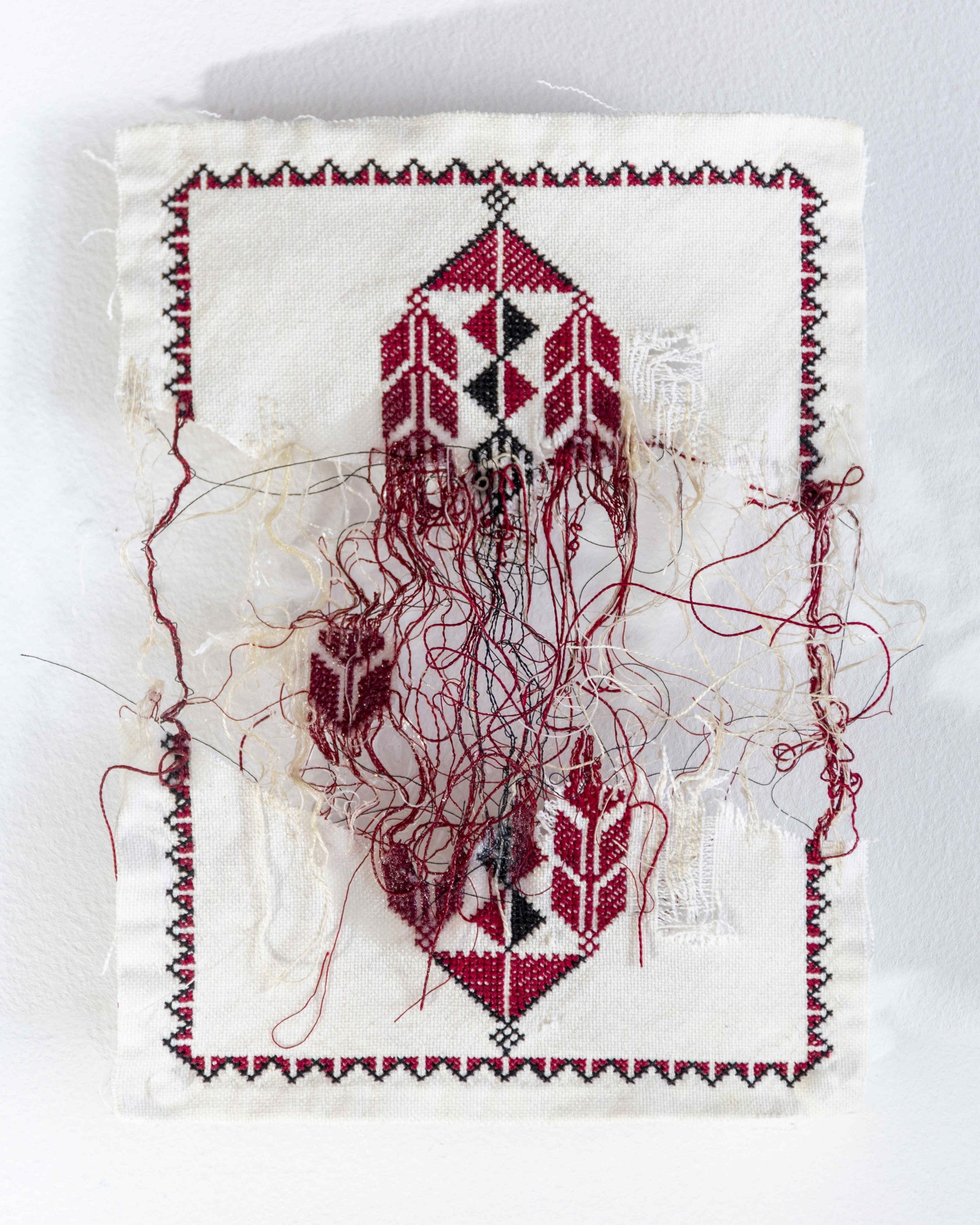 Poetics of Separation II, 2020 Fiber, cotton thread, cotton fabric and resin, 25.5 x 20.5 x 3.2 cm