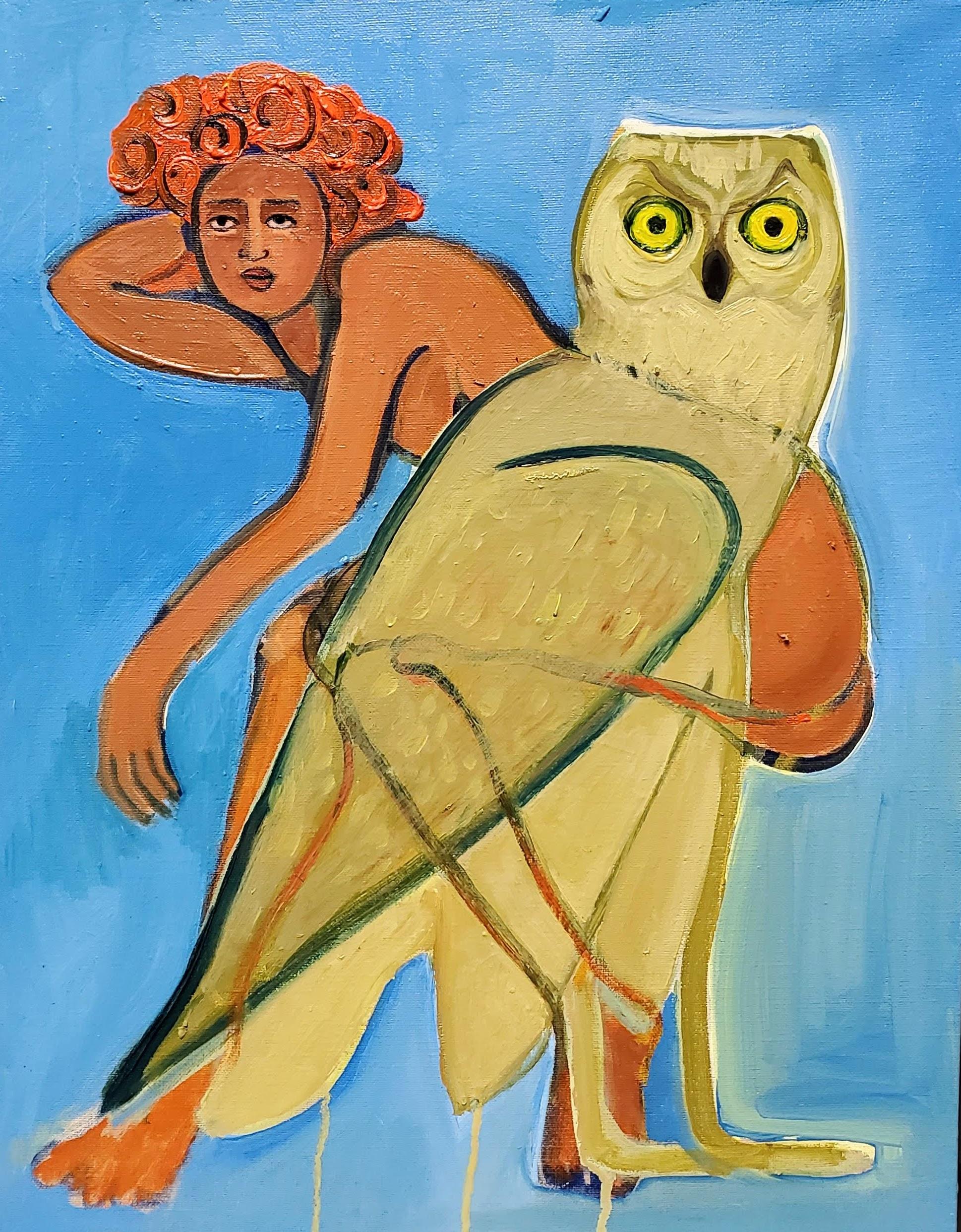 Like an Owl, 2020, oil on canvas, 35.5 x 45.7 cm.