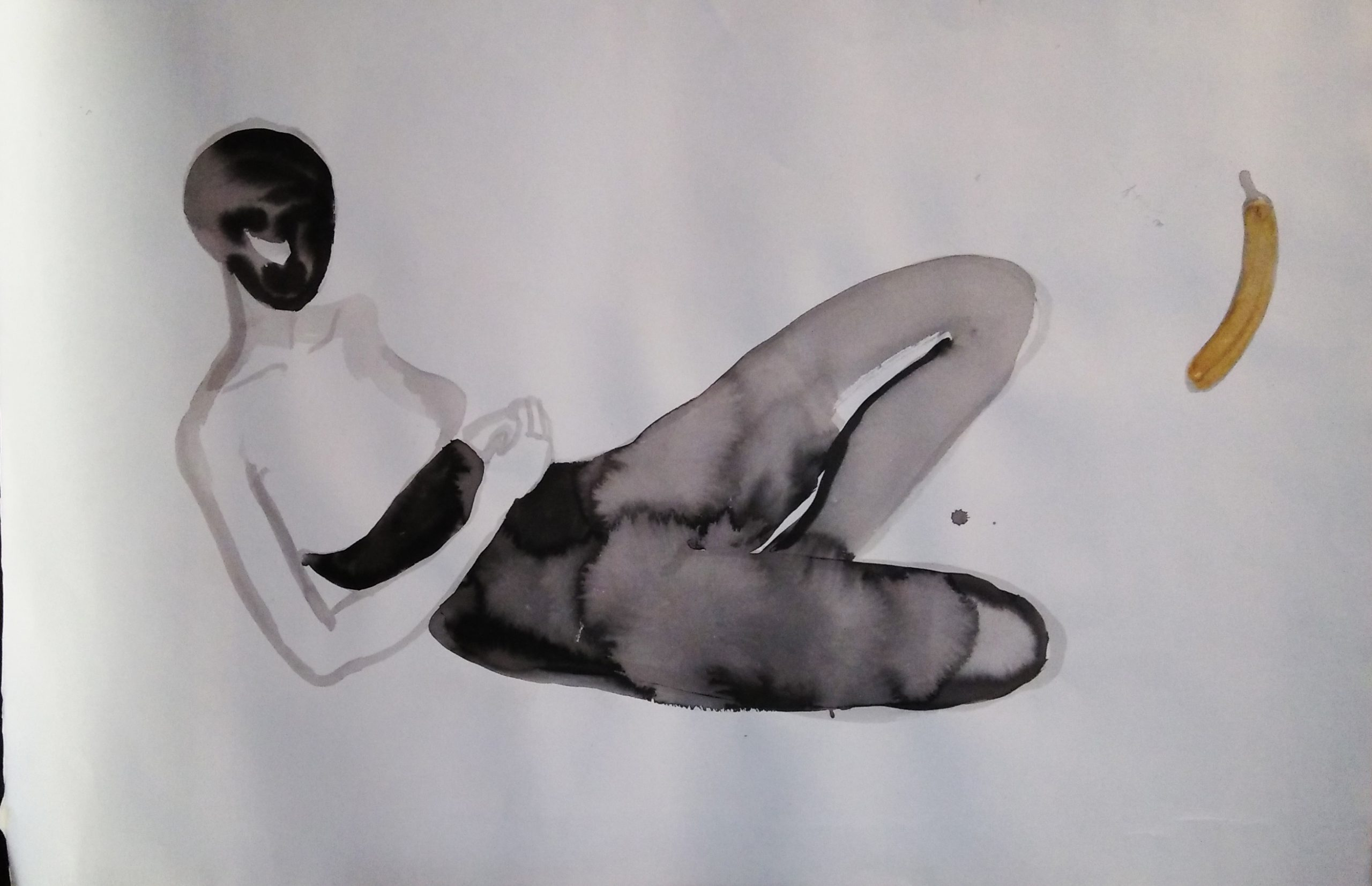 Reclining with a Banana, 2007, inks and acrylics on paper, 115 x 75 cm