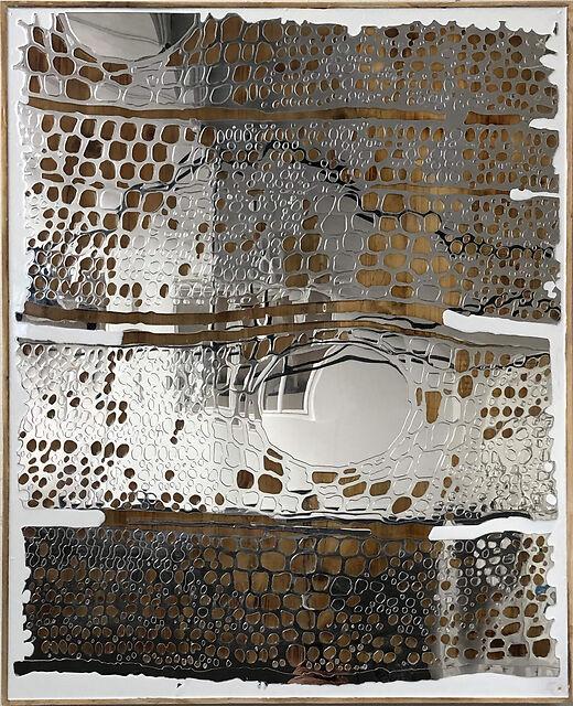 Formation Measures XI, 2019, shou sugi ban russian oak mirror resin pigment, 102 x 122 cm