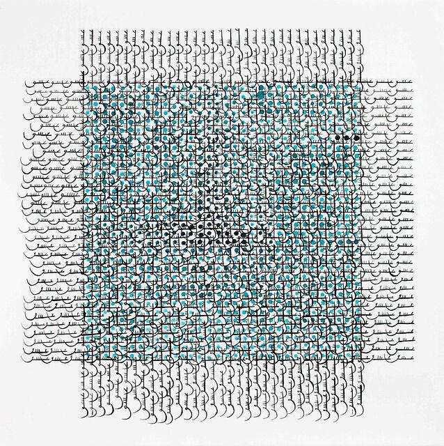 Grid 21, 2012, Ink, acrylic on Arches, 30 x 30
