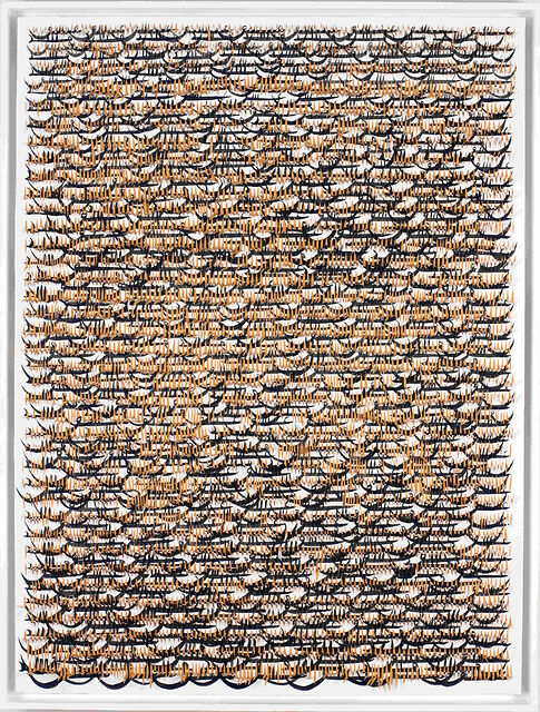 Grid, Cut, Orange 1, 2017, Paper and ink on panel, 40 X 30 X 3.25 Inches 101.5 X 76.2 X 8.2 cm