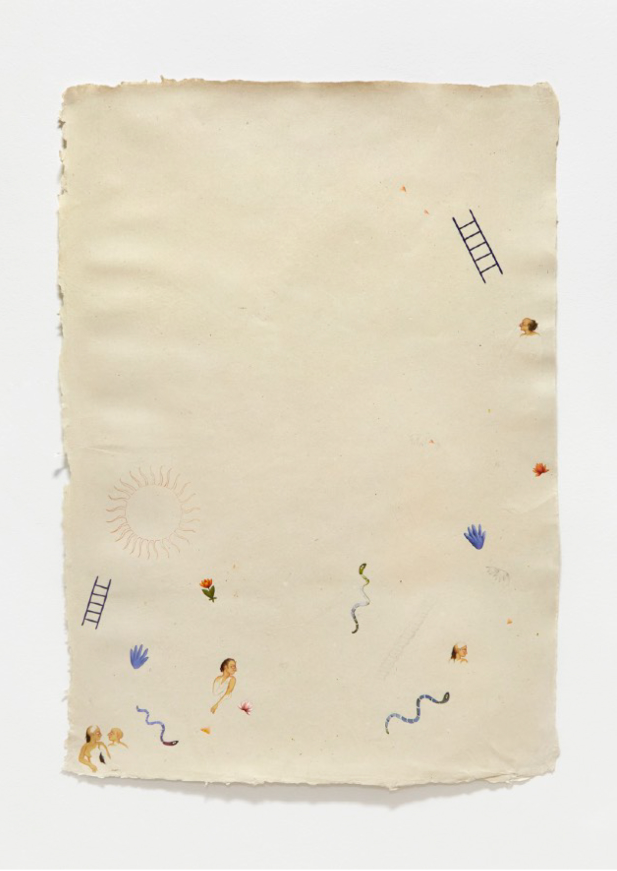 Snakes+Ladders, 2020, Natural pigment, pencil, natural hand-dyed paper, watercolour, pencil on handmade Indian hemp paper, 55 x 80 cm