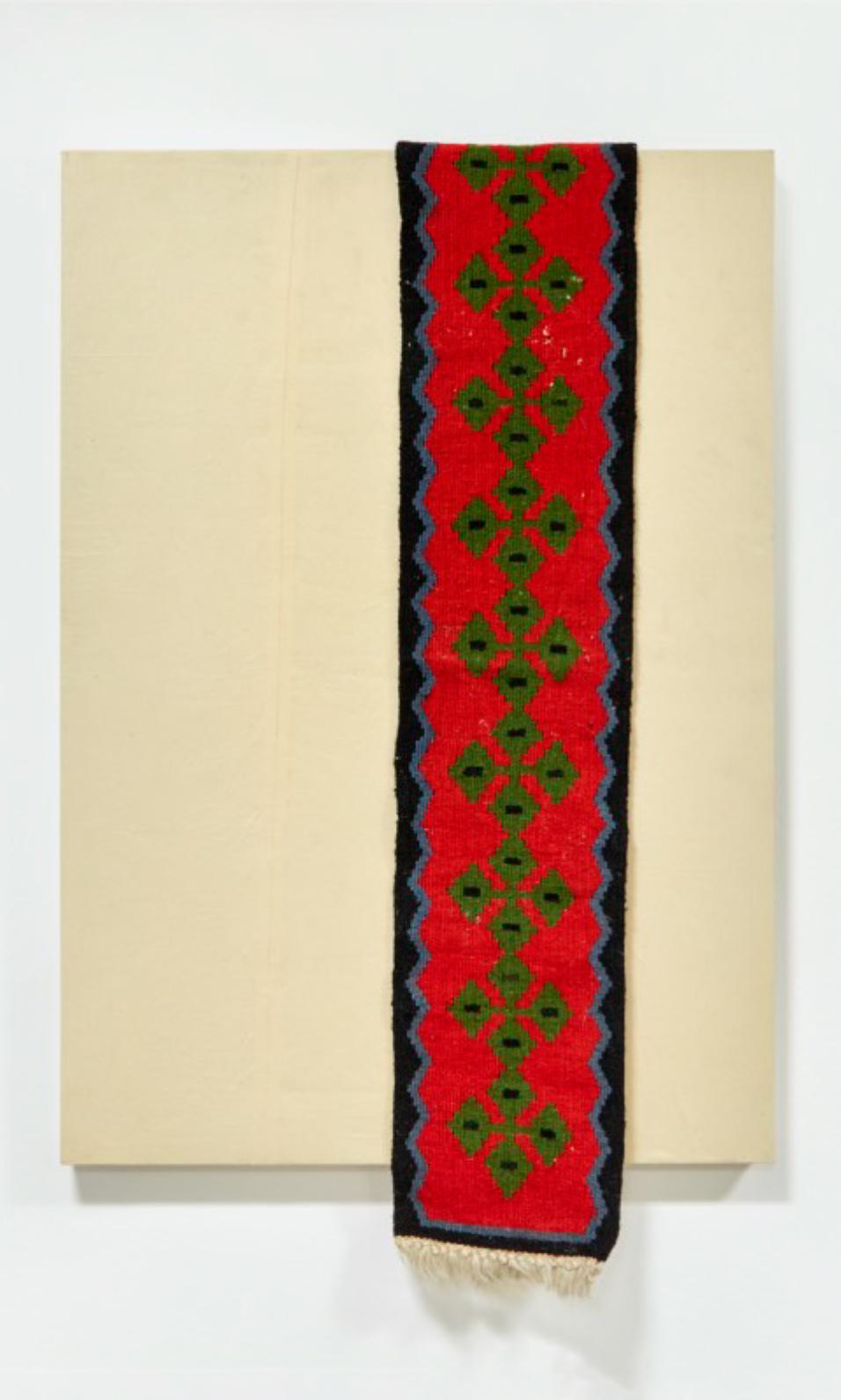 Identity Pick n' Mix II, 2021, woven kilim, cotton, rabbit skin glue, on wood, 70 x 100 cm