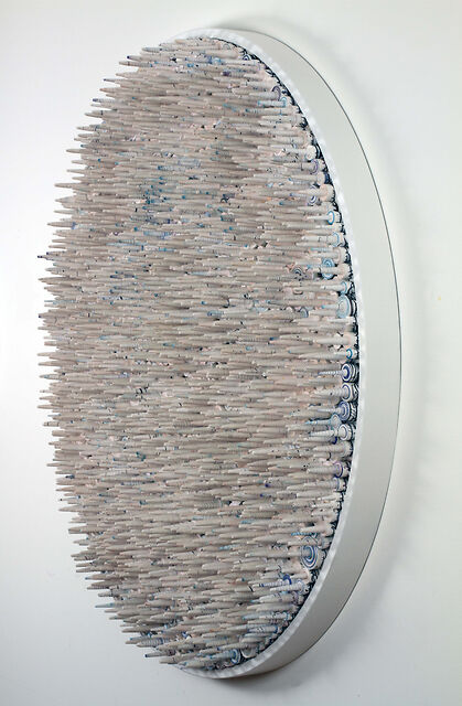 """Spike 6 (Side View), 2014, Rolled Paper containing handwritten and printed Farsi text Eshgh LovePassion, water based ink and acrylics 48"""" Diameter x 7"""" Deep"""