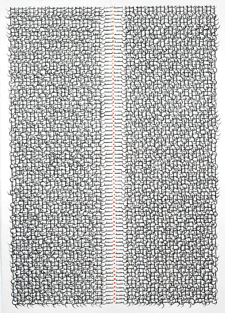 Grid 25, 2013, Ink and acrylic on Arches paper, 41 x 29.5 in  104 x 75 cm