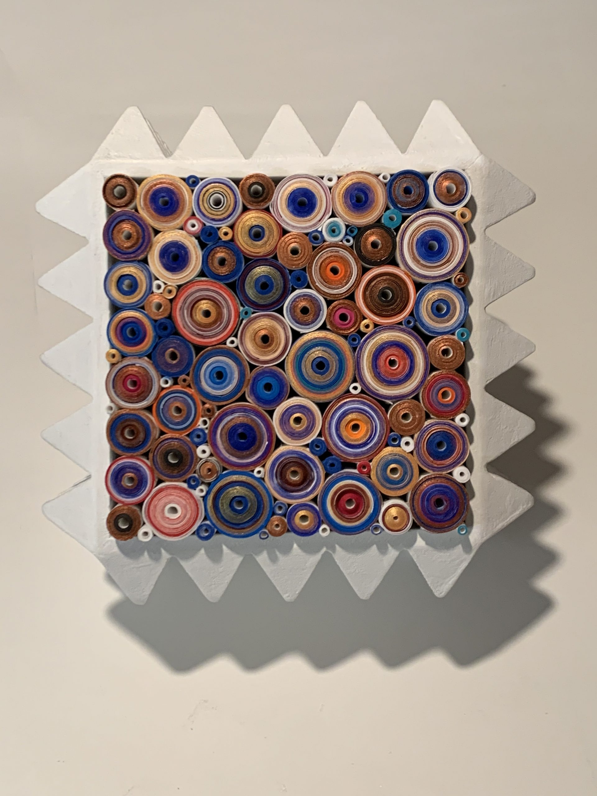 Cube, 2021, Rolled paper with embedded text, ink and acrylic in hand cut spiked cube form, 7 x 7 x 7 in / 17.78 x 17.78 x 17.78 cm