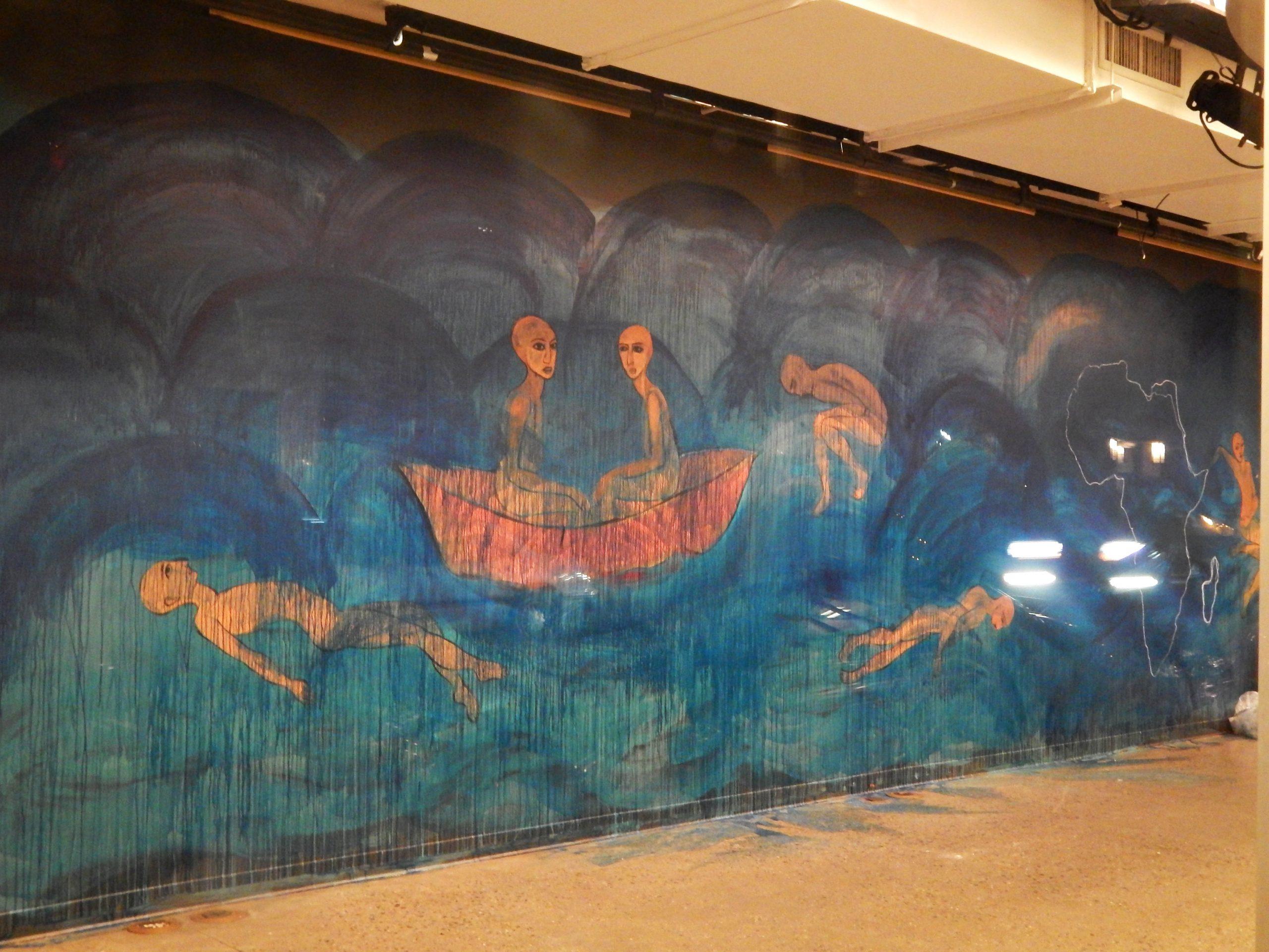 At War(k, mixed media mural, NYLA, 31.9 x 10.3 cm