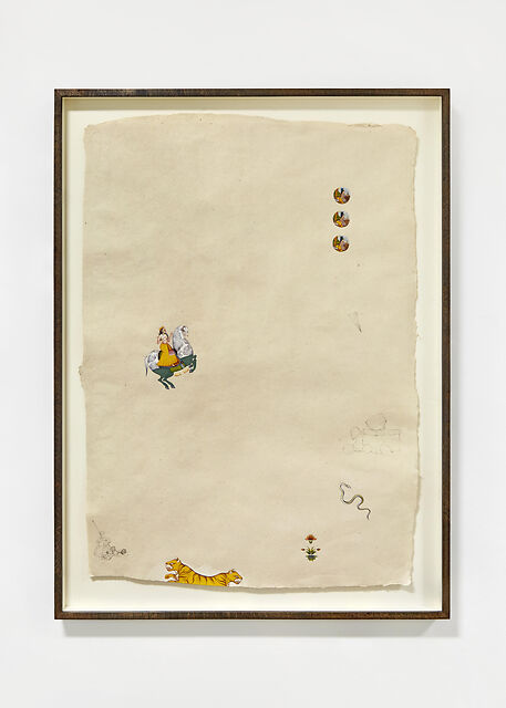 Drive Thru, 2020, Natural pigment, pencil, watercolour, 24k gold on handmade Indian hemp paper, 55 x 80 cm