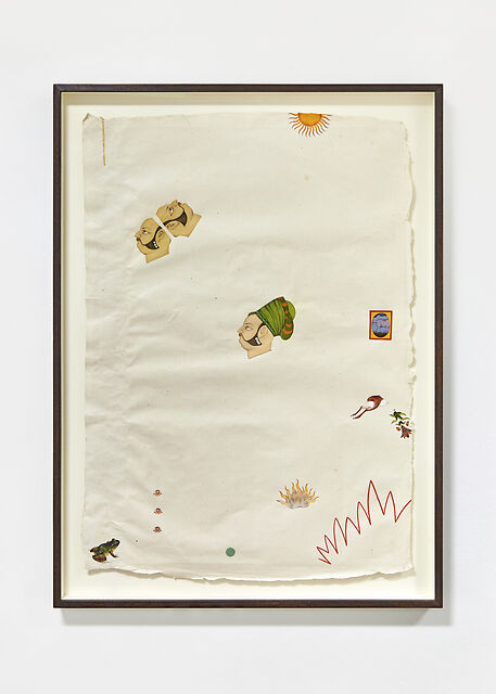 Frogs on Fire, 2020, Natural pigment (including genuine  Malachite, Indigo, Lapis Lazuli, Cinnabar,  Vermillion), watercolour, 24k gold on handmade Indian hemp paper, 55 x 80 cm