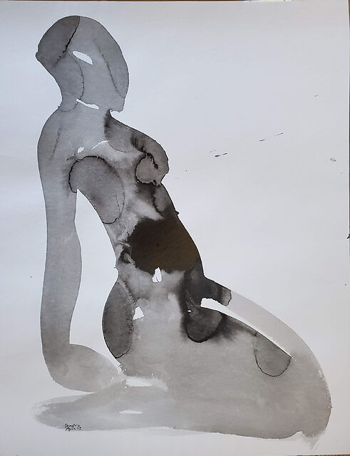 Seated Yoga Study II, 2015, ink on paper, 56 x 76 cm