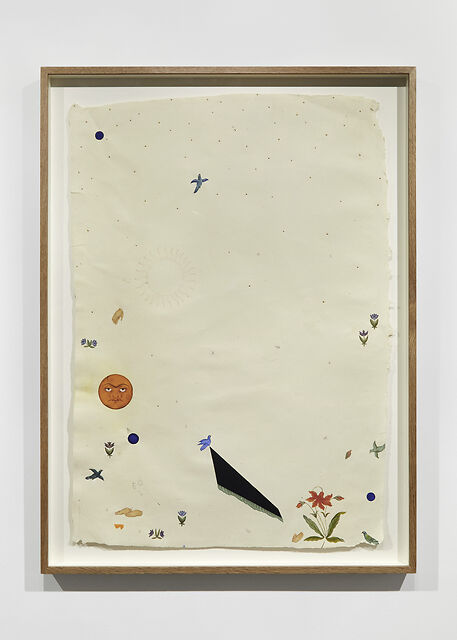 That's all folks!, 2020, Natural pigment (inc. genuine Lapis Lazuli, Malachite, Cinnabar), watercolour, 24k raised gold, Pencil on handmade recycled Indian hemp paper, 23.6 x 35.4 in / 65 x 90 cm (framed)