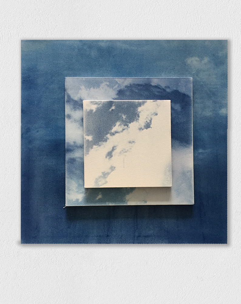 9 skies, 3 timezones, 2019, cyanotype on canvas, 30 x 30 inches