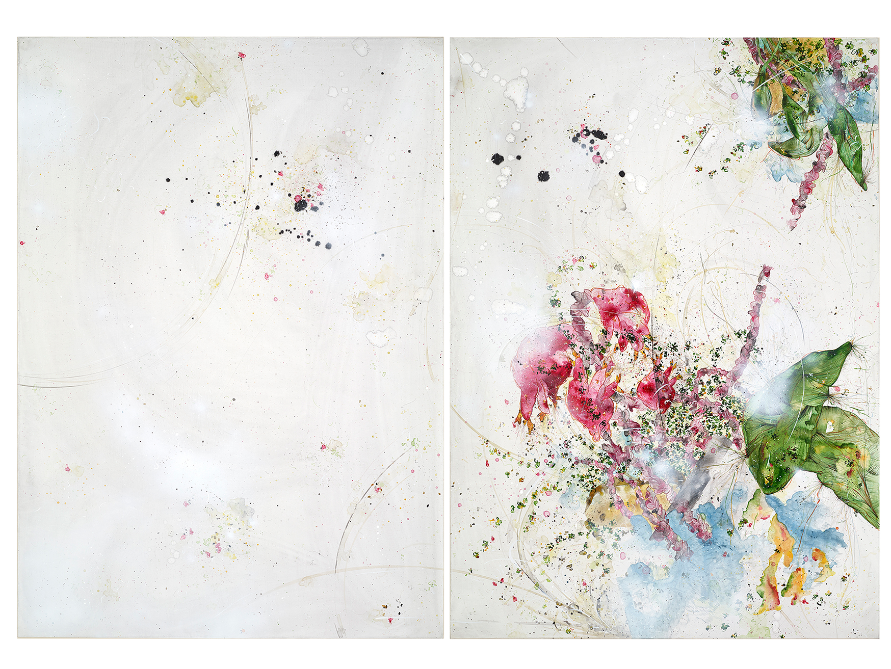 therefore the most profound thought is a beating heart, 2017, Mixed media on canvas, diptych, each 140 x 100 cm