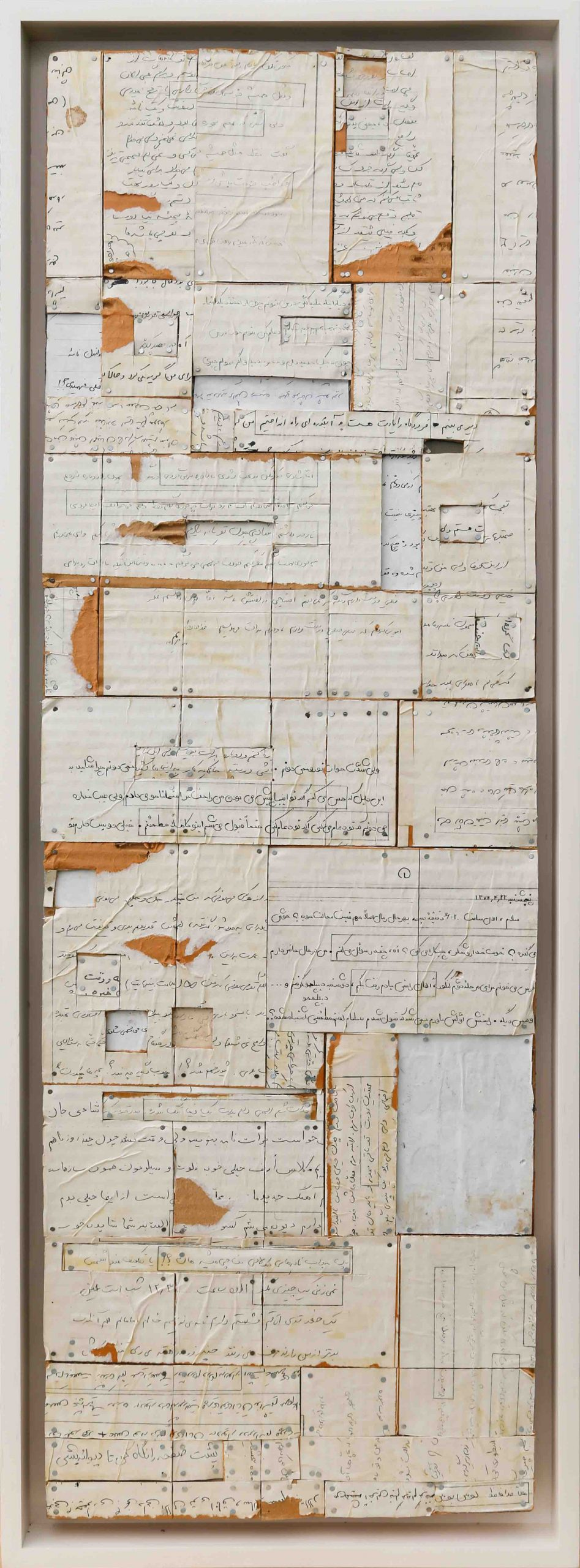 Letters 25, 2020, Photocopied letters pasted on wood, 37 x 11 in Courtesy ADVOCARTSY and the artist.