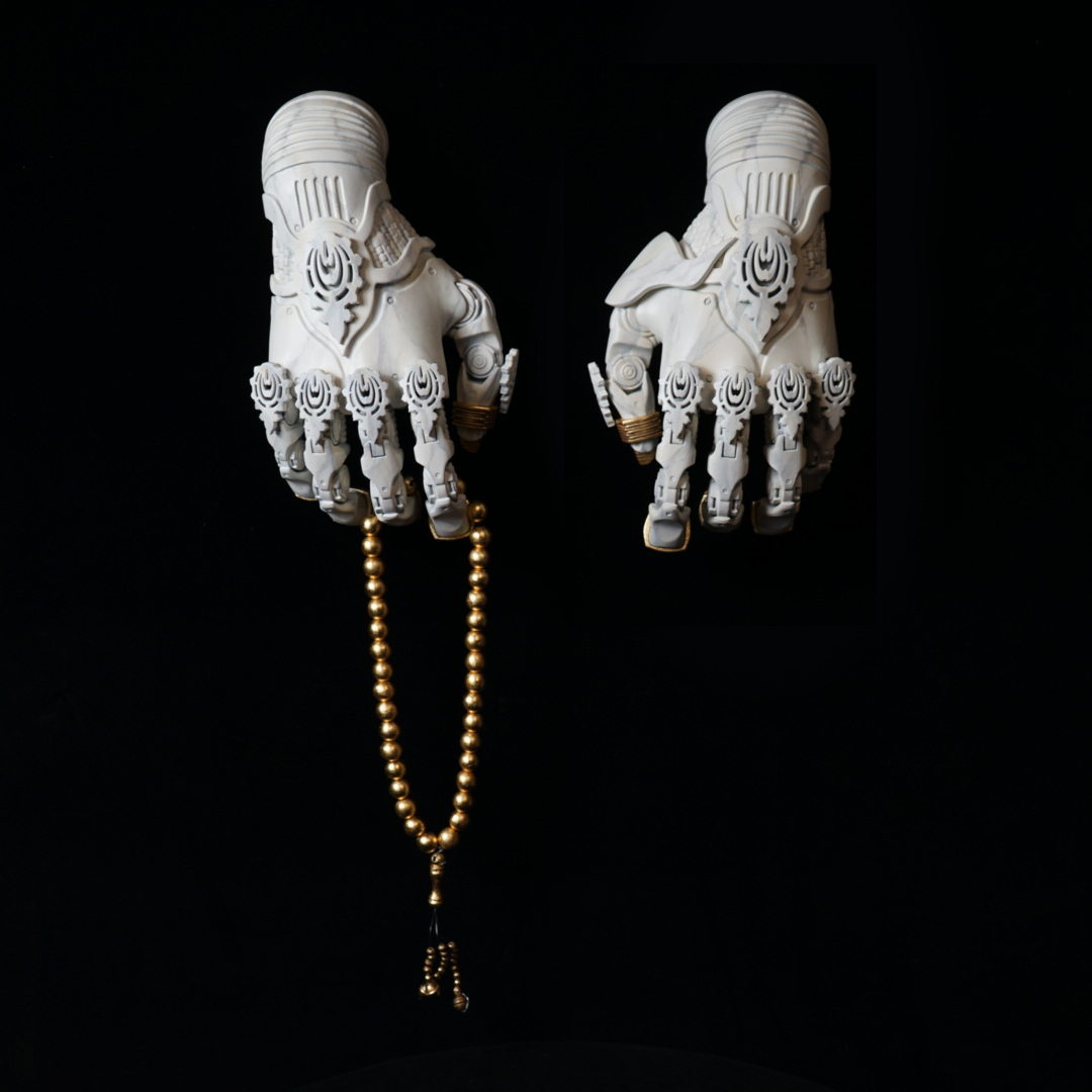 A.N.G.E.L.S. Hands, 2019, 3D printed acrylic, paint, and brass leaf, 12 x 6 in
