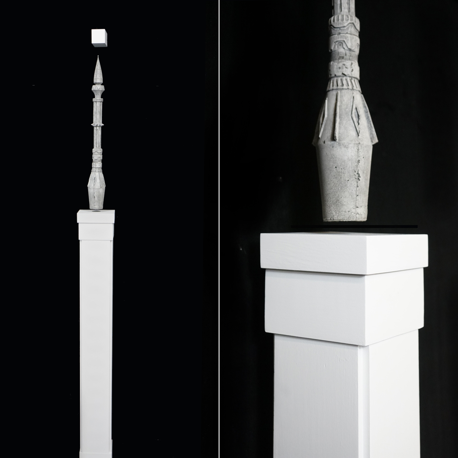 Levitating Minaret, 2019, High density foam, electromagnets, wood, and paint, 24 x 4 in