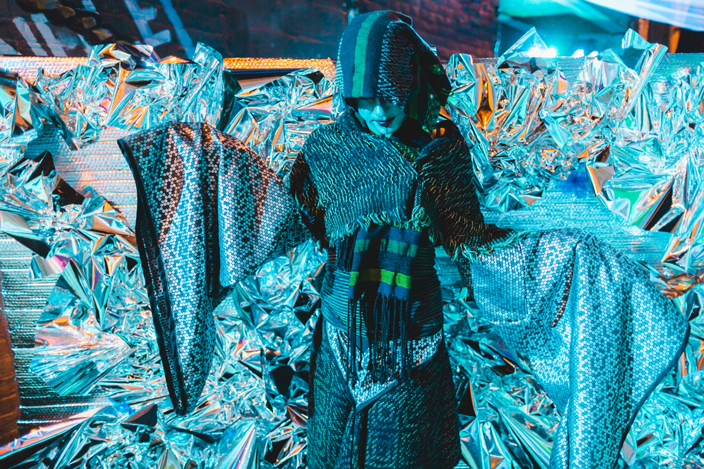 Xylem X, 2019, Installation and performance at the Sidewalk festival in Detroit, Michigan. Costume in handwoven cotton and rayon, found fabric. Photo credit: Trilogy Beats